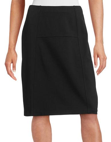 Nic+Zoe Paneled Ponte Flirt Skirt-BLACK-X-Small