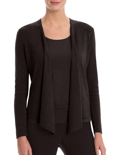 Nic+Zoe PETITE Four-Way Linen-Blend Cardigan-BLACK ONYX-Petite Medium