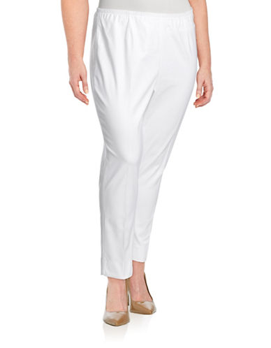 Nic+Zoe Plus Elasticized Side Zip Crop Pants-WHITE-18W