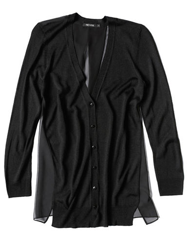 Nic+Zoe Plus Chiffon Back Cardigan-BLACK-2X