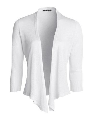 Nic+Zoe Plus Four Way Linen-Blend Cardigan-WHITE-1X