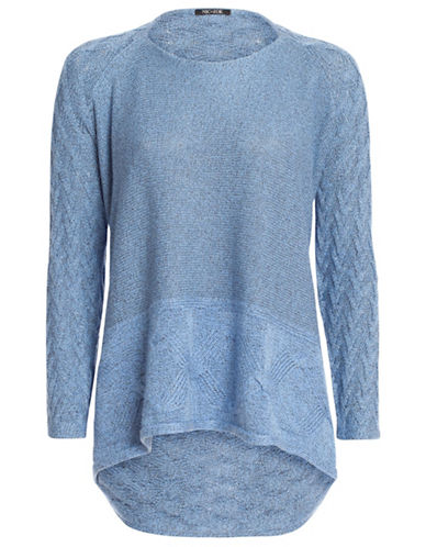 Nic+Zoe Cozy Stitched Top-BLUE-Small 88052796_BLUE_Small