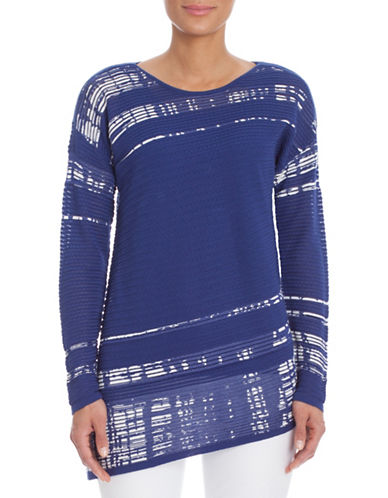 Nic+Zoe Plus Sunstone Asymmetrical Top-BLUE-3X