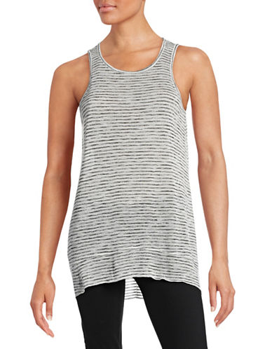 Style And Co. Striped Flutter-Hem Tank Top-GREY-Large 88374961_GREY_Large