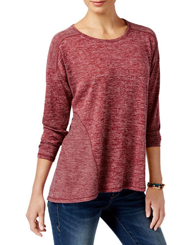 Style And Co. Marled Seam-Detail Top-RED-Medium 88548711_RED_Medium