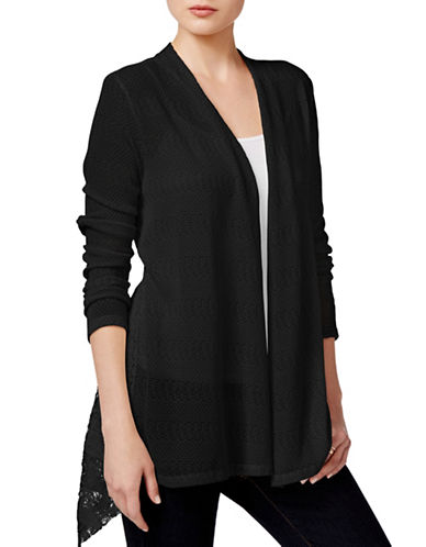 Style And Co. Lace-Inset Open-Front Cardigan-BLACK-Small 88559905_BLACK_Small