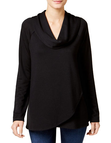 Style And Co. Cowl Neck Crossover Hem Top-BLACK-Small 88730563_BLACK_Small