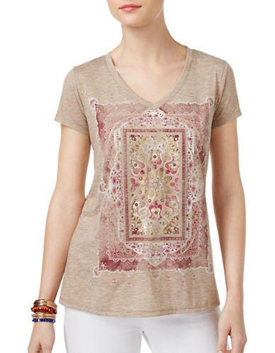 Style And Co. Foiled Graphic Tee-BEIGE-Medium