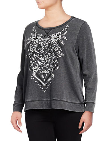 Style And Co. Plus Embroidered Motif Sweater-GREY-1X