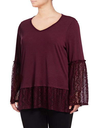 Style And Co. Plus Lace-Trim Blouse-WINE-3X