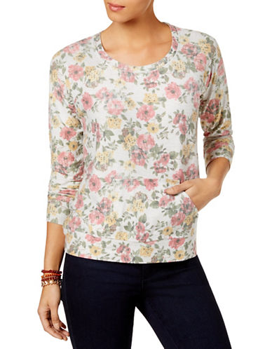 Style And Co. Floral Scoop Neck Sweatshirt-PINK-Medium