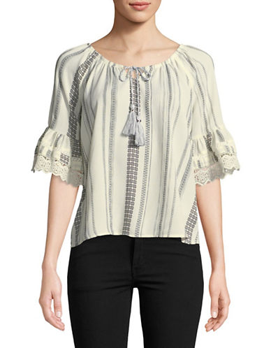 Style And Co. Petite Lace Cuff Peasant Top-WHITE-Petite Large