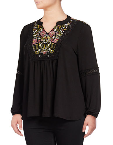 Style And Co. Plus Embroidered Long Sleeve Top-BLACK-2X