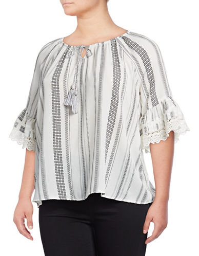 Style And Co. Plus Lace Cuff Peasant Top-WHITE-3X