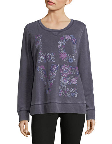 Style And Co. Embroidered Floral Sweatshirt-BLUE-Large