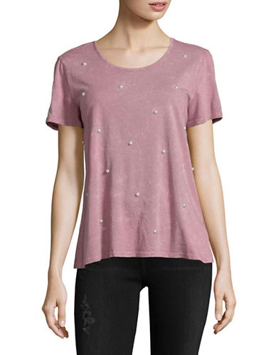 Style And Co. Studded Short-Sleeve Tee-PURPLE-Large