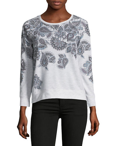 Style And Co. Petite Floral Raglan-Sleeve Sweatshirt-WHITE-Petite Small