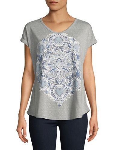 Style And Co. Graphic Short-Sleeve Tee-GREY-Medium