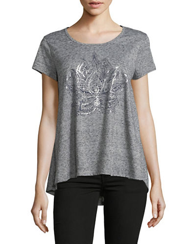 Style And Co. Graphic Short-Sleeve Top-GREY-X-Large