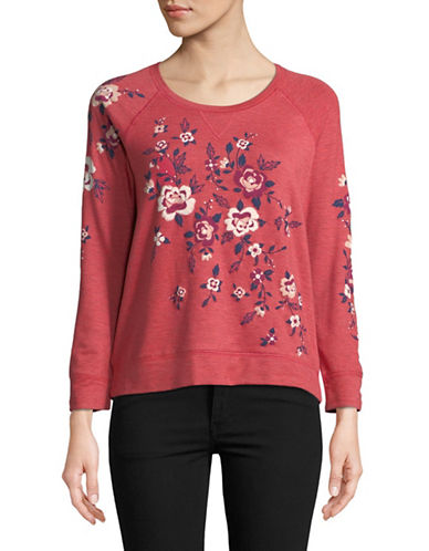 Style And Co. Floral-Print Raglan Top-RED-Medium