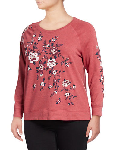 Style And Co. Plus Floral Long-Sleeve Top-RED-2X