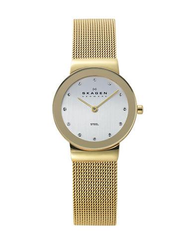 Skagen Ladies Gold Tone Mesh Strap Watch-GOLD-One Size