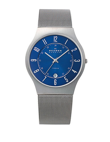 Skagen Grenen Steel Mesh and Titanium Case Watch-SILVER-One Size