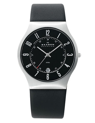 Skagen Mens Leather Watch-BLACK-One Size