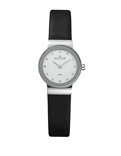 Skagen Leather Watch-BLACK-One Size