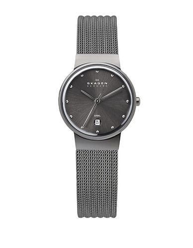 Skagen Stainless Steel Mesh Watch-GRAY-One Size