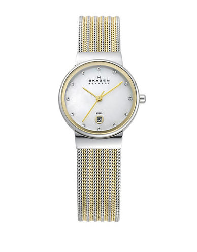 Skagen Striped Mesh Large Gold Watch-TWO TONE-One Size