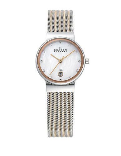 Skagen Striped Mesh Large Rose Gold Watch-TWO TONE-One Size