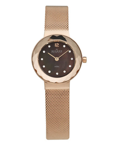 Skagen Rose Gold Mesh Bracelet With Faceted Crystal And Brown Dial Watch-ROSE GOLD-One Size
