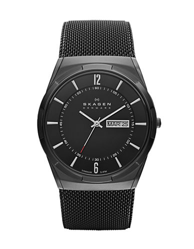 Skagen SKAGEN DENMARK Mens Titanium and Mesh Watch-BLACK-One Size