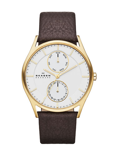 Skagen Klassic mens dark brown leather strap-BROWN-One Size
