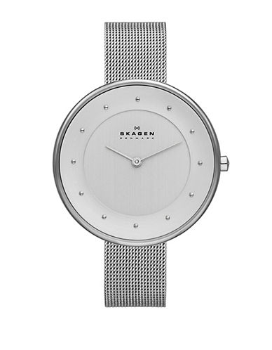 Skagen Klassic Silver mesh Glitter watch.-GREY-One Size