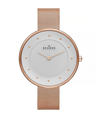 Skagen Klassic rose gold tone mesh Glitter watch.-ROSE GOLD-One Size