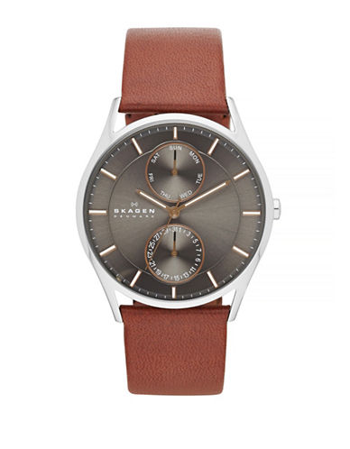 Skagen Holst Multifunction Leather Watch-BROWN-One Size