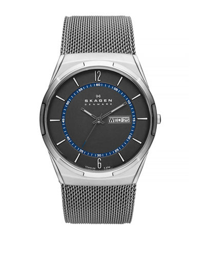 Skagen Melbye Steel Mesh and Titanium Case Multifunction Watch-SILVER-One Size