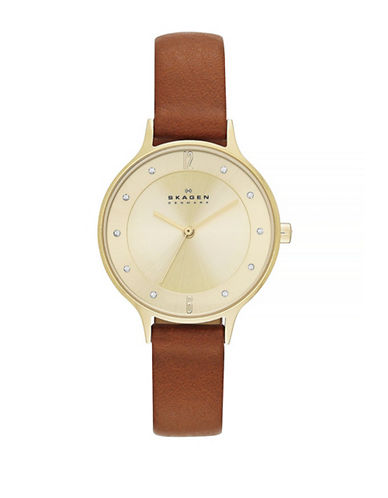Skagen Anita Leather Watch-BROWN-One Size