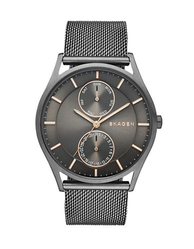 Skagen Holst Stainless Steel Mesh Multifunction Watch-GREY-One Size