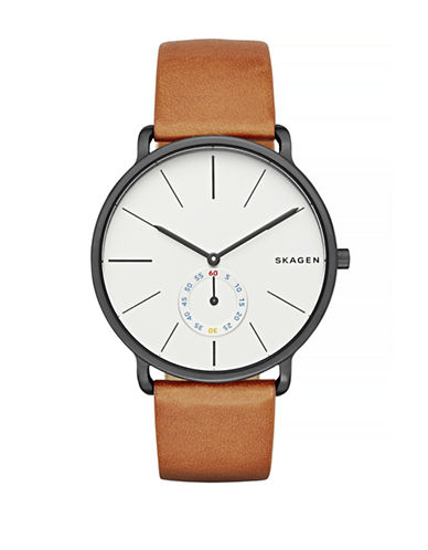 Skagen Hagen Leather Strap Watch-BROWN-One Size