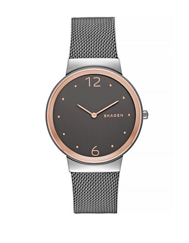 Skagen Freja Two-Tone Steel Mesh Bracelet Watch-GREY-One Size