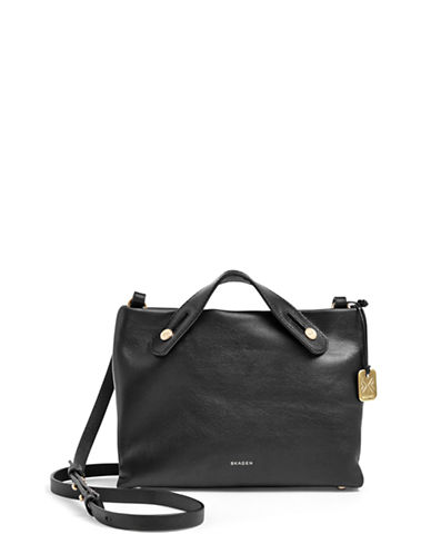 Skagen Mikkeline Leather Mini Satchel-BLACK-One Size