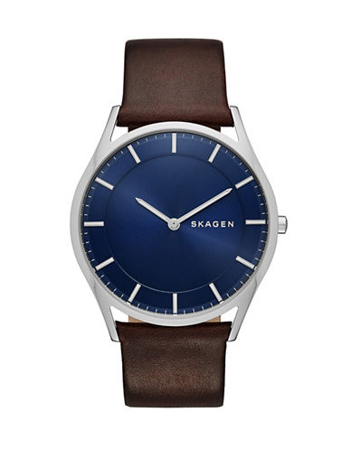 Skagen Holst Slim Stainless Steel Leather Watch-BROWN-One Size