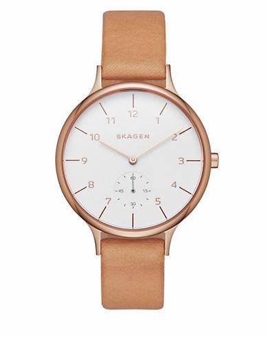 Skagen Anita Rose-Goldtone Leather Strap Watch-BROWN-One Size