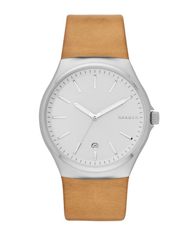 Skagen Sundby Stainless Steel Leather Strap Watch-BROWN-One Size