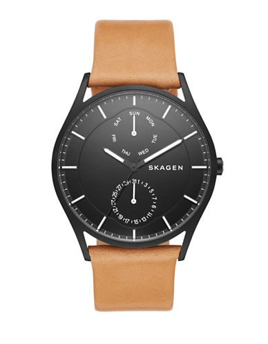 Skagen Holst Black Stainless Steel Leather Strap Watch-BROWN-One Size