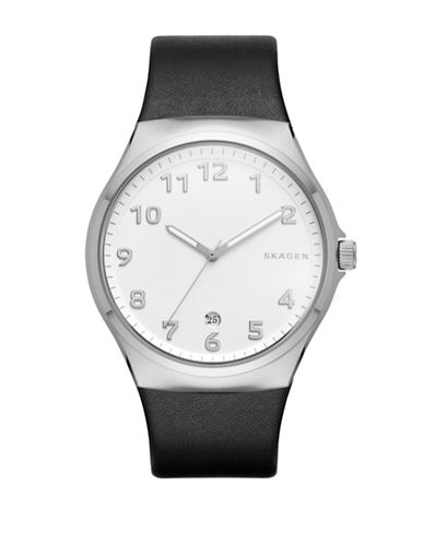 Skagen Analog Sundby Black Leather Strap Watch-BLACK-One Size
