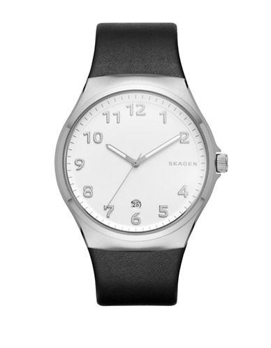 Skagen Analog Sundby Black Leather Strap Watch-BLACK-One Size